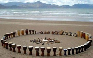 drum circle of drums on a beach