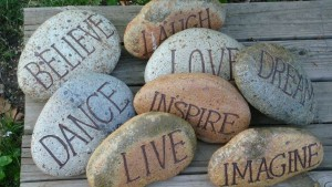 rocks and words
