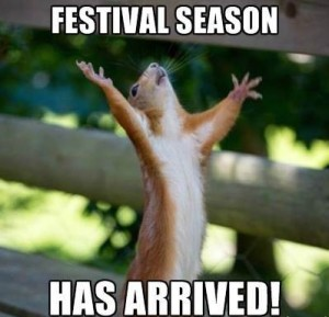 festival squirrel hands up